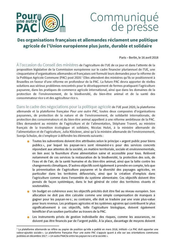 Déclaration commune pour une autre PAC 2020