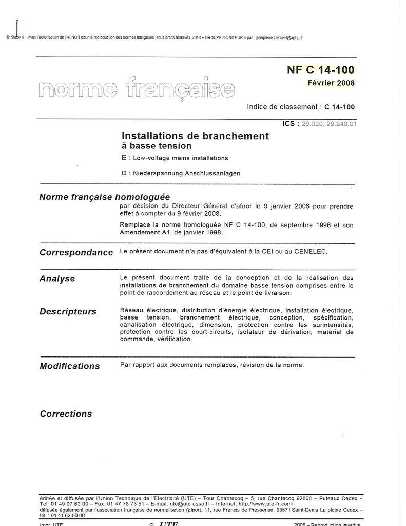 Normes françaises : NF C 14-100