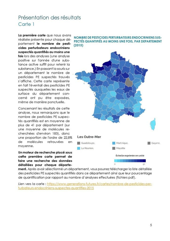 Présence de pesticides perturbateurs endocriniens suspectés dans les eaux de surface en France