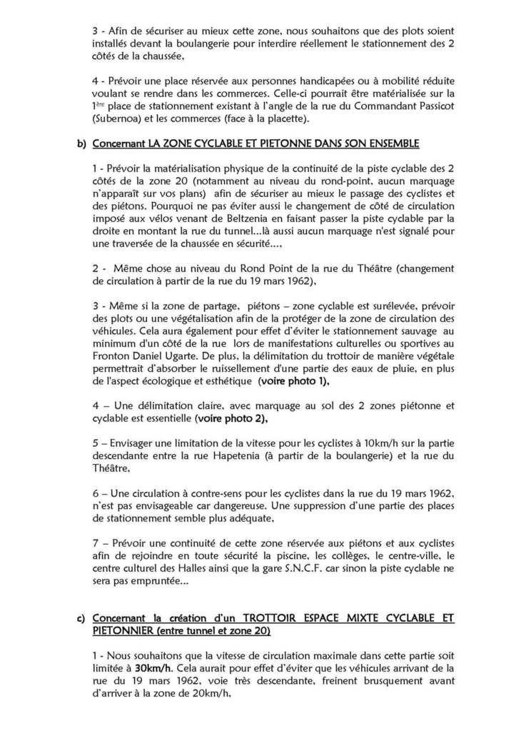 Lettre à Mr le Maire d'Hendaye concernant les observations & propositions d'aménagement concernant le Bas-Quartier