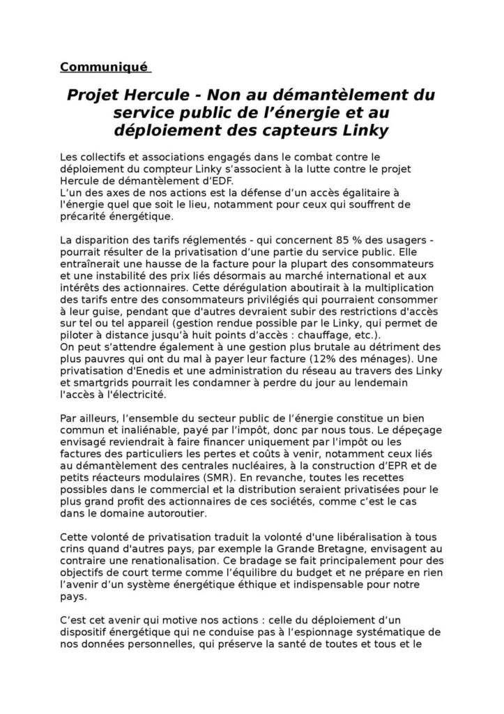 Projet HERCULE : Non au démantèlement du service public de l'énergie et au déploiement des capteurs Linky