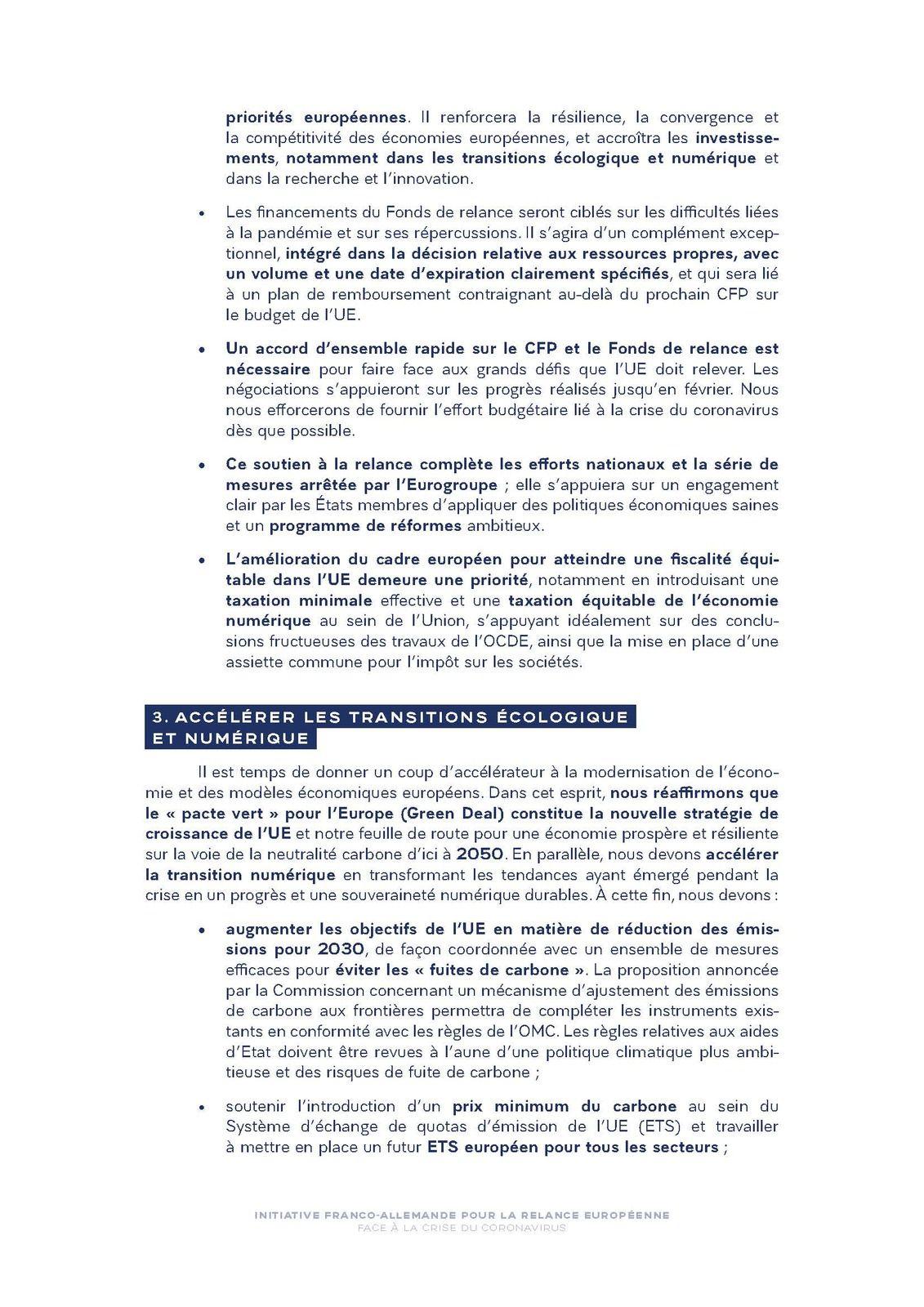 Initiative Franco-Allemande pour la relance européenne face à la crise du coronavirus