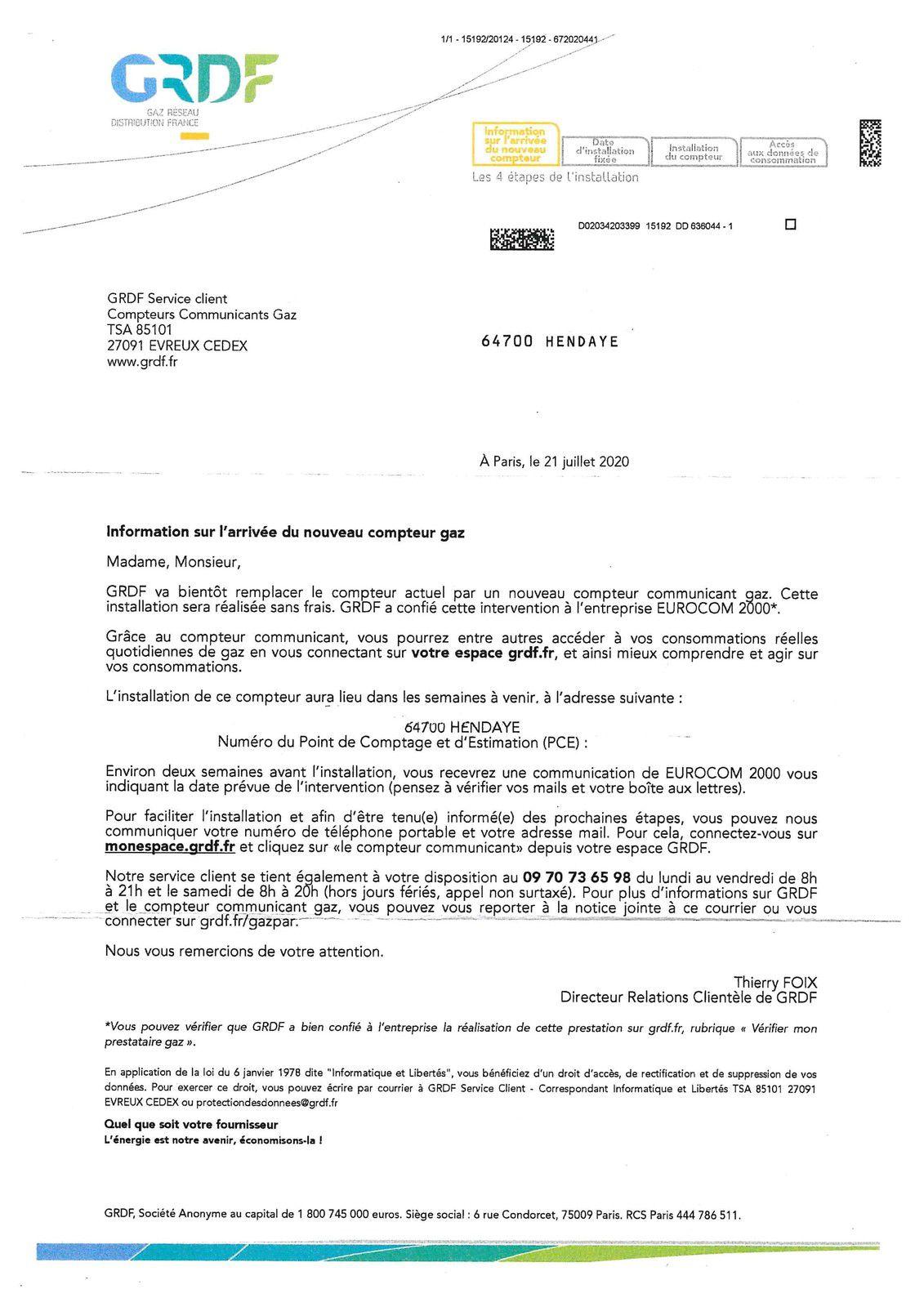 GAZPAR/ALERTE : Des Hendayais/e ont reçu une lettre de GRDF leur annonçant la pose prochaine du compteur de Gaz dit « intelligent »