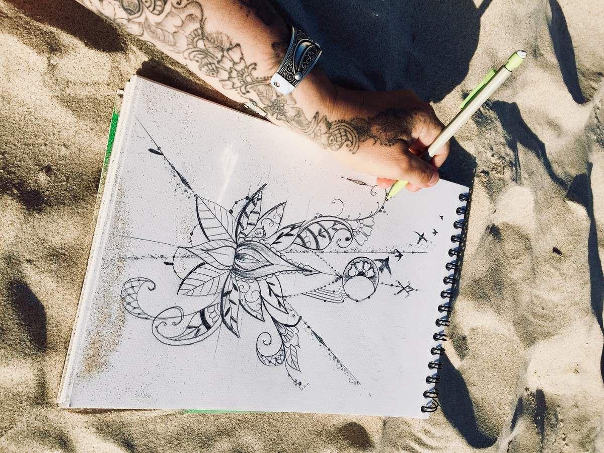 Croquis griffonné sur une plage Asturienne... Du dessin à l'encrage.