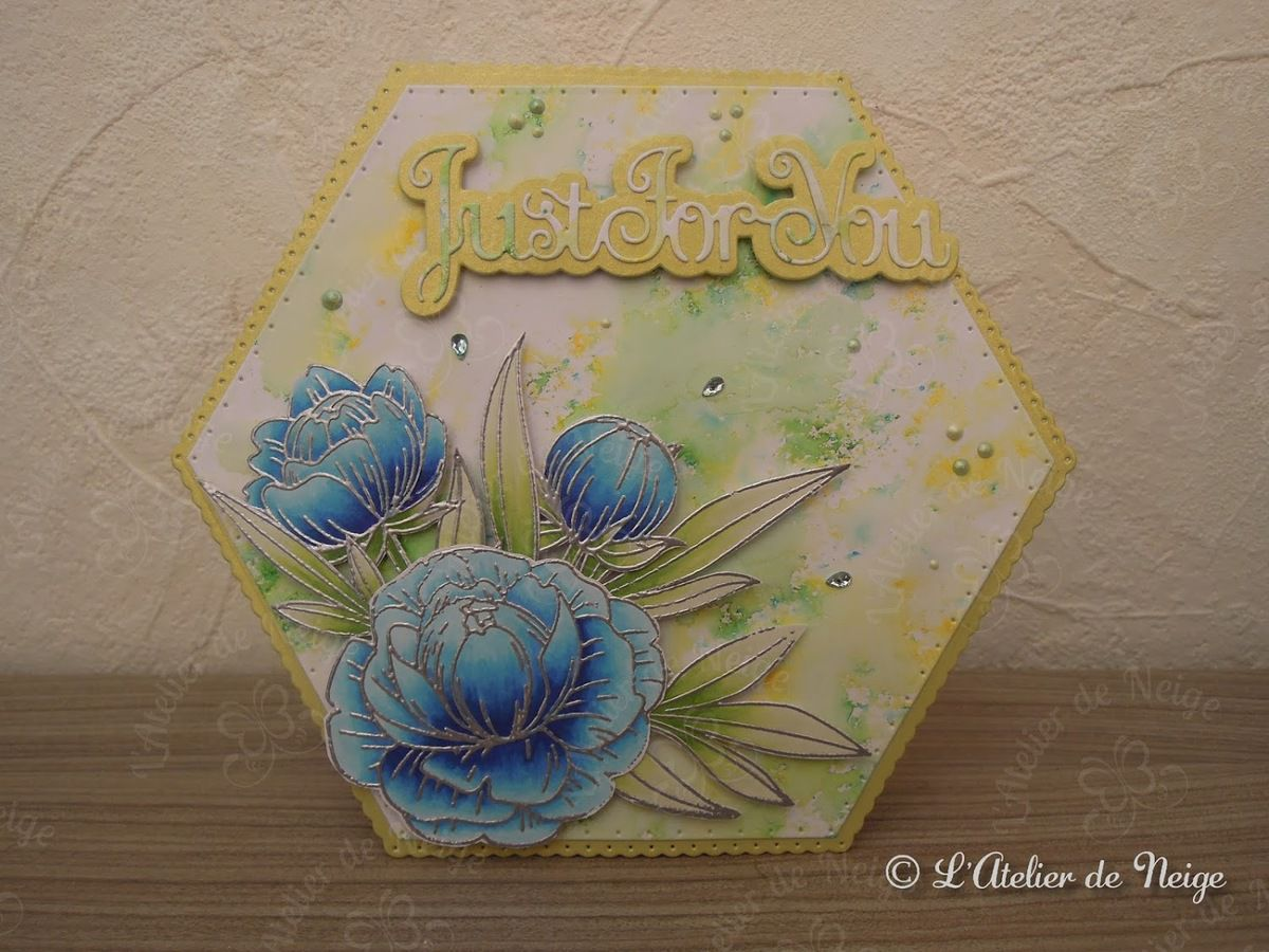 529 - Carte Just For You Fleurs Bleues