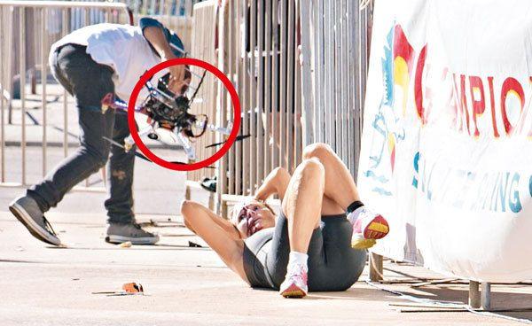 06 avril 2014. Un drone s'est crashé sur la tête de Raija Ogden (une athlète) pendant le triathlon qui se déroulait à Geraldton en Australie (côte Ouest).