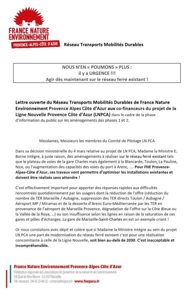 lettre ouverte envoyée par FNE PACA aux membres du comité de pilotage du projet LN PCA (Région, Etat, Métropoles AMP, TPM, NCA, CD 06,83,13, SNCF Réseau, SNCF Mobilités, Garant de la concertation, ...