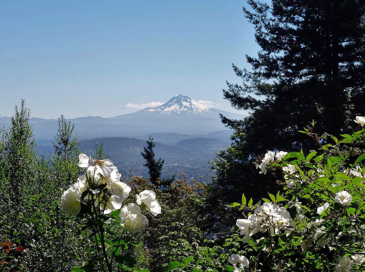 Portland Pittock Mansion vue sur le Mont Hood