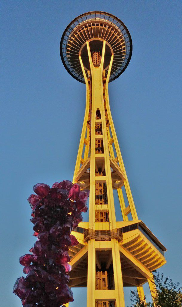 Seattle Space Needle vue de Chihuly Garden and Glass