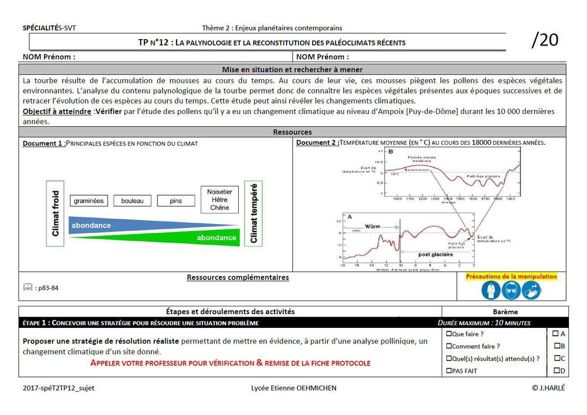 spéT2-TP1 : La palynologie et la reconstitution des paléoclimats