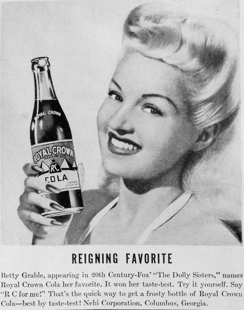 BETTY GRABLE POUR ROYAL CROWN COLA