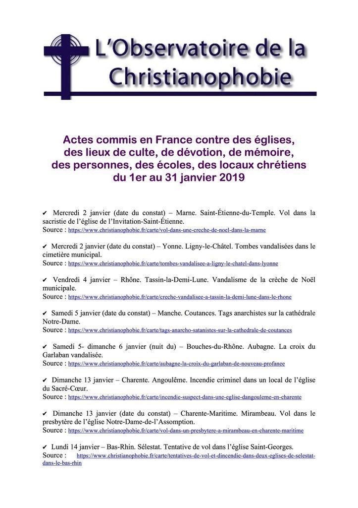 Bilan de la christianophobie en France ....UNE HONTE !!!