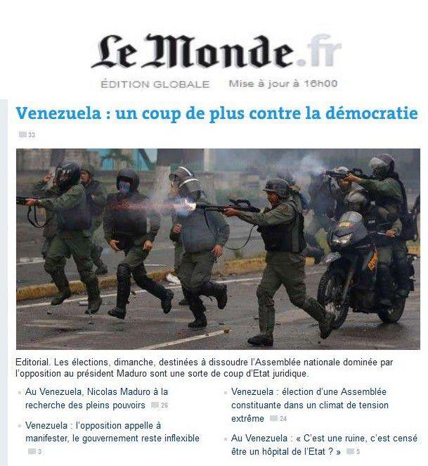 """Le Monde, París:""""Venezuela: Un golpe más contra la democracia"""""""
