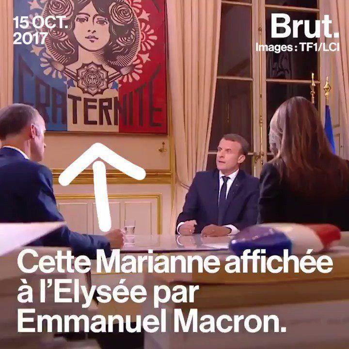 La religión de los republicanos: El presidente francés Emmanuel Macron y el cuadro de Marianne/Isis en el Palacio del Elíseo