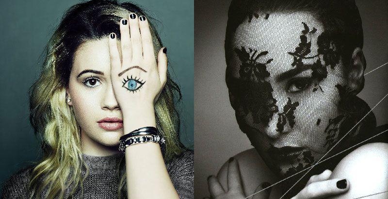 Bea Miller (izquierda) y Demi Lovato (derecha) haciendo el signo de un ojo,lo que significa que son propiedad de la élite oculta.