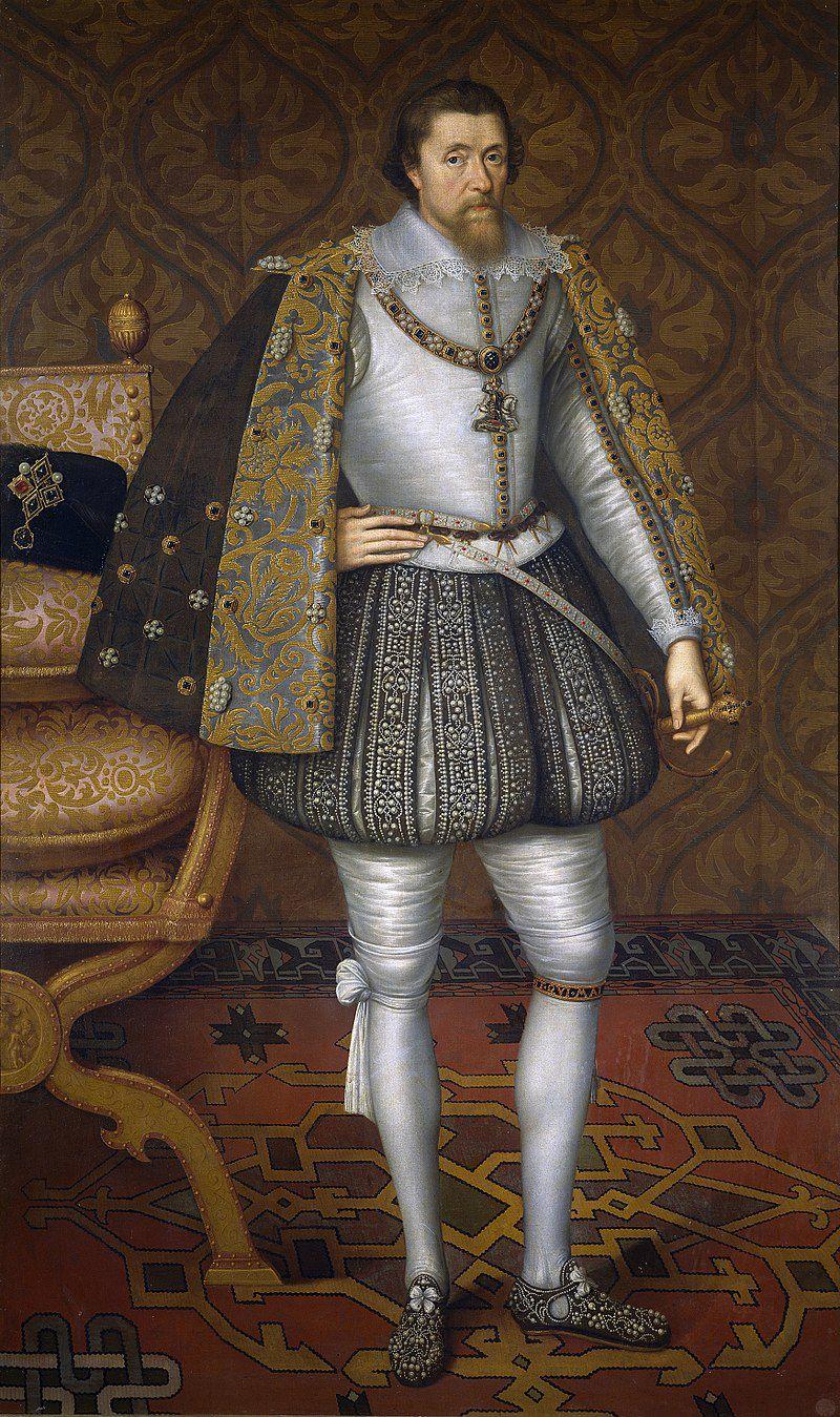 Jaime I, 1566 - 1625, Rey de Inglaterra, unió las coronas inglesa, escocesa e irlandesa