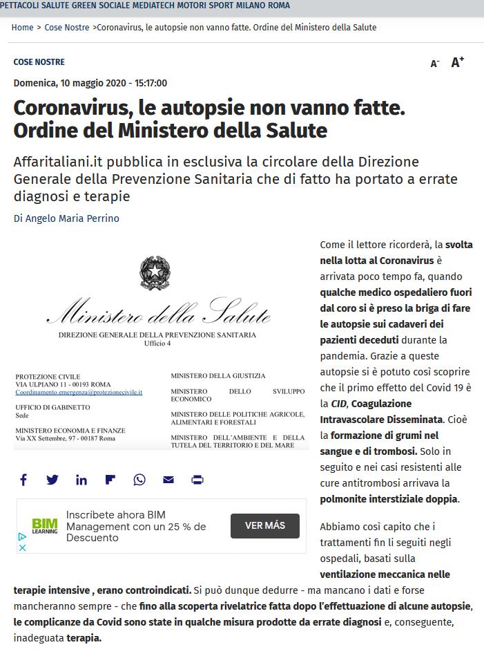 Médicos italianos desobedecen la orden de no realizar autopsias y descubren que el protocolo de la OMS empeoraba gravemente a losenfermos