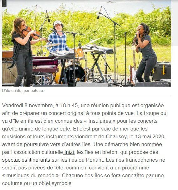 Concert d'île en île . télégramme 05+OF 06
