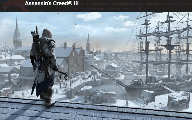 ASSASSIN'S CREED III gratuit le 7 décembre.