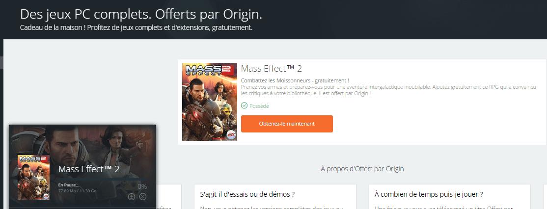 MASS EFFECT 2 est gratuit sur PC.