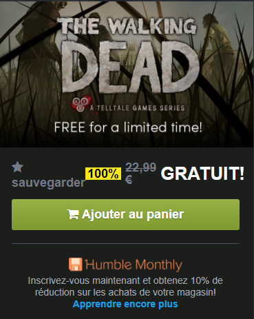 Le jeu THE WALKING DEAD saison 1 gratuit.