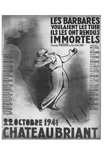 dimanche 23 octobre 2016: 75 ème anniversaire de l'exécution des otages de Chateaubriant, livrés aux nazis par Vichy, en présence de Pierre Laurent (PCF), Camille Lainé (Mouvement des Jeunes Communistes), Philippe Martinez (CGT): départs en bus de Morlaix, Brest, Saint Brieuc
