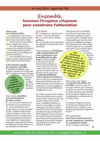 Convention nationale de l'Appel des 100 le 12 novembre à Montreuil (L'Humanité, 26 octobre 2016)