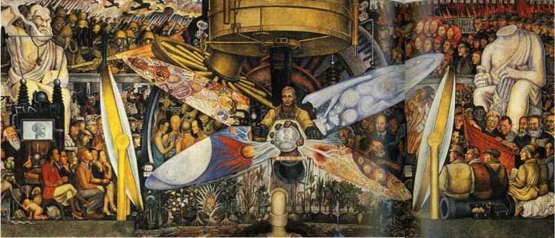 """Diego Rivera: """"L'homme à la croisée des chemins"""" (1924) - fresque au Rockefeller Center de New York ( Rivera y introduit le portrait de Lénine)"""