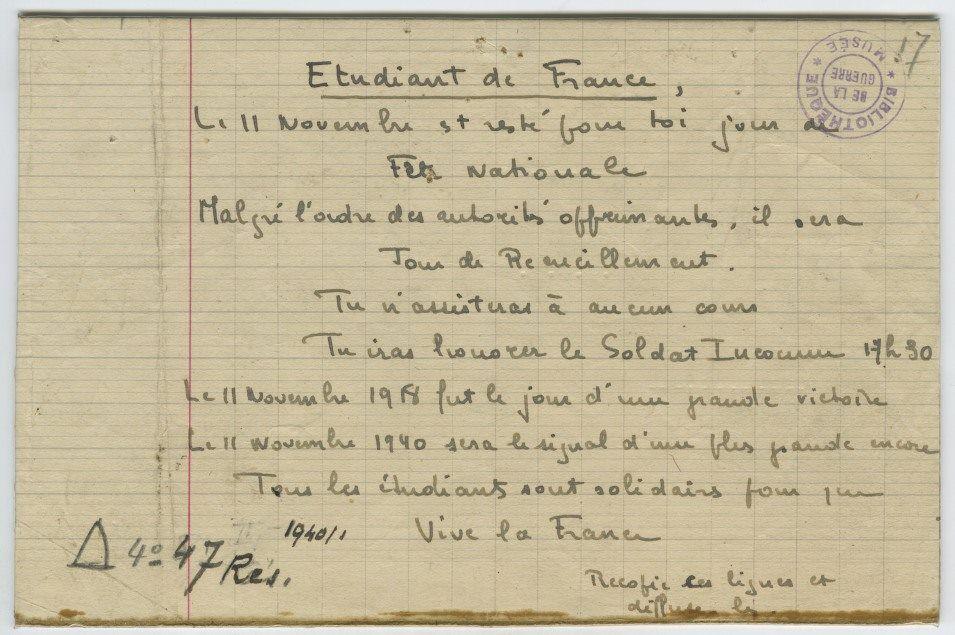 11 novembre 1940: un éclair d'espoir au début de la nuit noire de l'occupation: les étudiants parisiens manifestent place de l'Etoile!