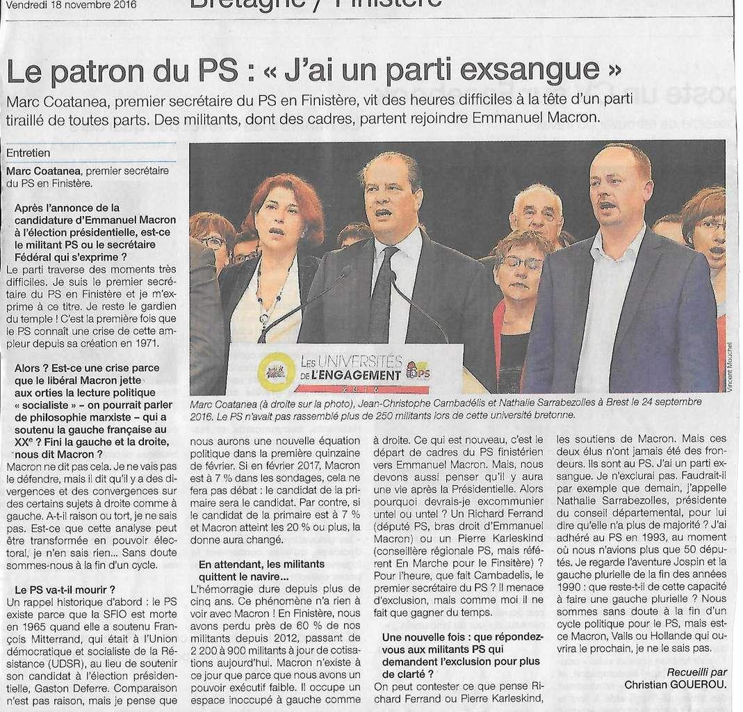 Ouest-France, vendredi 18 novembre 2016