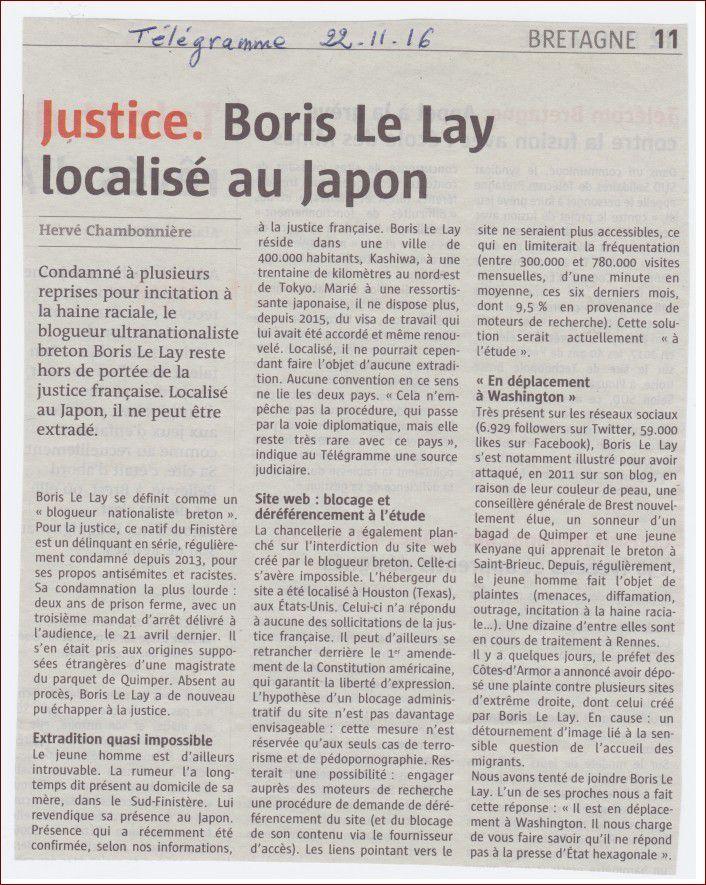 Boris Le Lay, le blogueur néo-nazi, localisé au Japon (Le Télégramme, 22 novembre 2016)