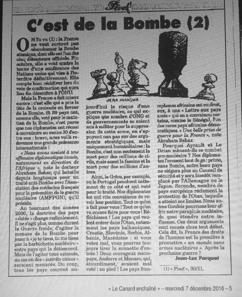 La France ne doit pas faire échouer le traité visant à interdire les armes nucléaires (Canard Enchaîné et blog de Paul Quilès)
