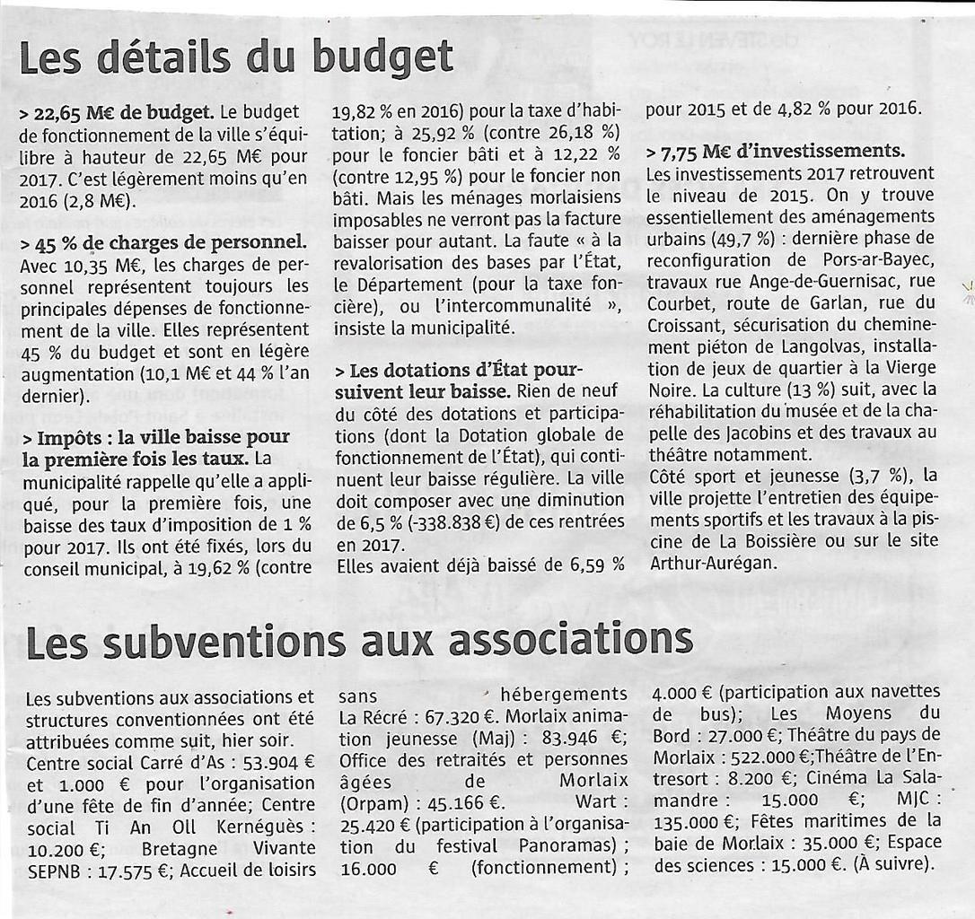 Conseil Municipal de Morlaix du mercredi 14 décembre 2016: revue de presse et vidéo sur le site de la Mairie: interventions d'Ismaël Dupont