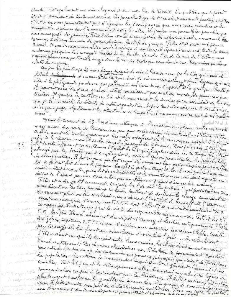 Contribution à l'histoire de la libération de Concarneau - par Alphonse Duot, ancien responsable du Front National de lutte pour la Libération et l'indépendance de la France, adjoint au commandement de la 7ème Compagnie F.T.P.F: un document exceptionnel des archives Pierre Le Rose