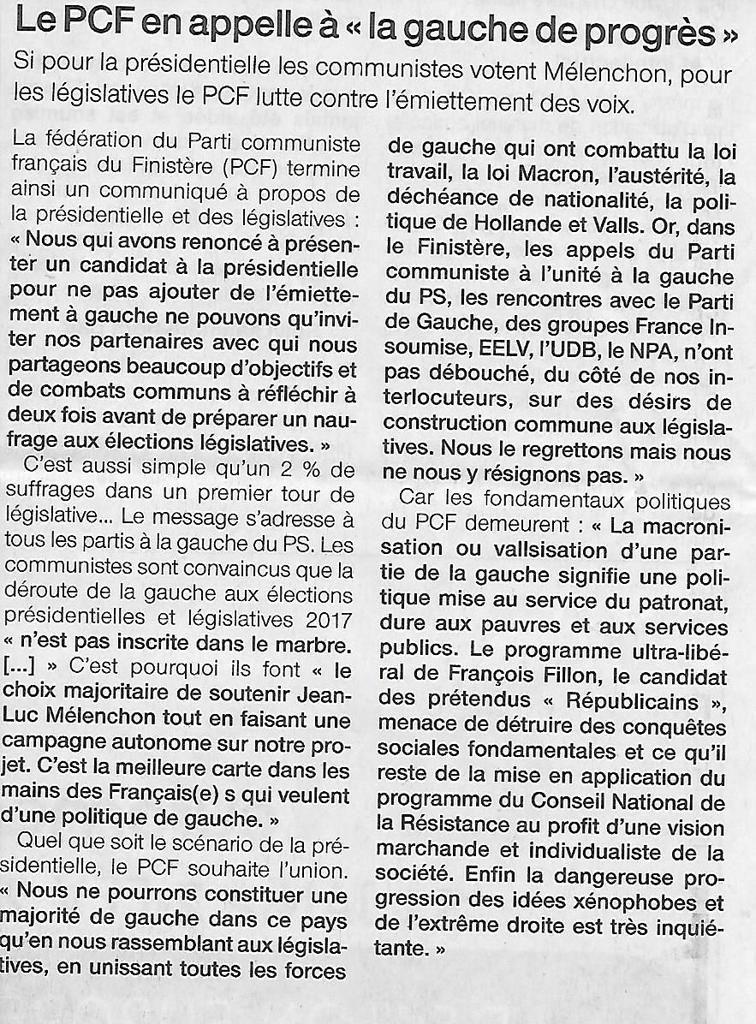 """Le PCF appelle à un rassemblement de """"la gauche de progrès"""" (Ouest-France, 13 janvier 2016)"""