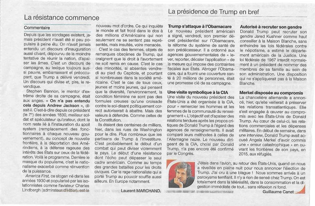 Ouest-France, 22 janvier 2017