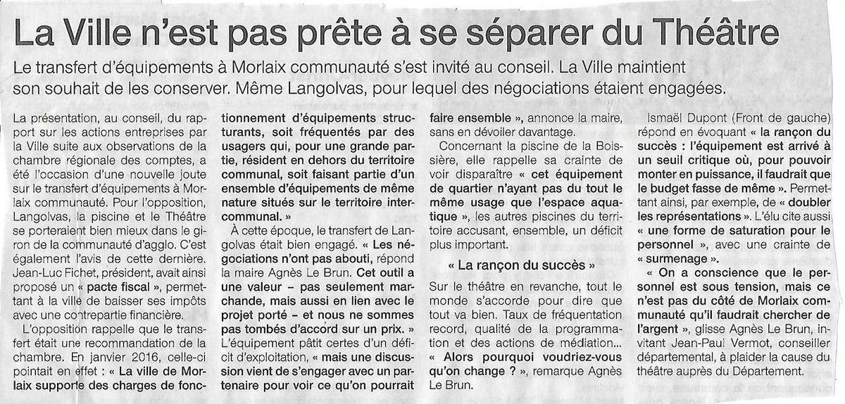 Article du Ouest-France  24 janvier sur le conseil municipal de Morlaix du 23 janvier 2017 (Delphine Van Hauwaert)
