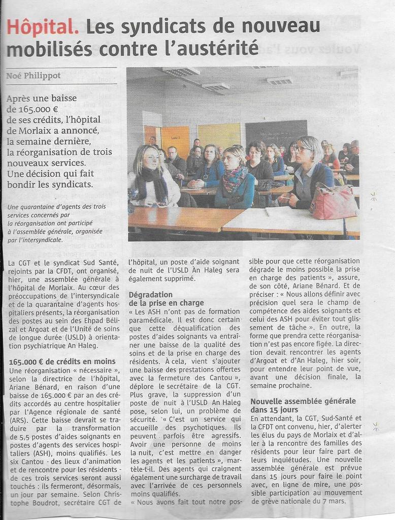 Hôpital de Morlaix: les syndicats de nouveau mobilisés contre l'austérité (Le Télégramme, 3 février 2017)