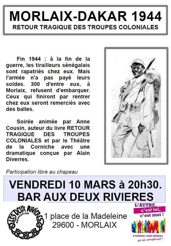 """""""Morlaix-Dakar: retour tragique des troupes coloniales"""": au bar des deux Rivières à Morlaix le 10 mars 2017"""