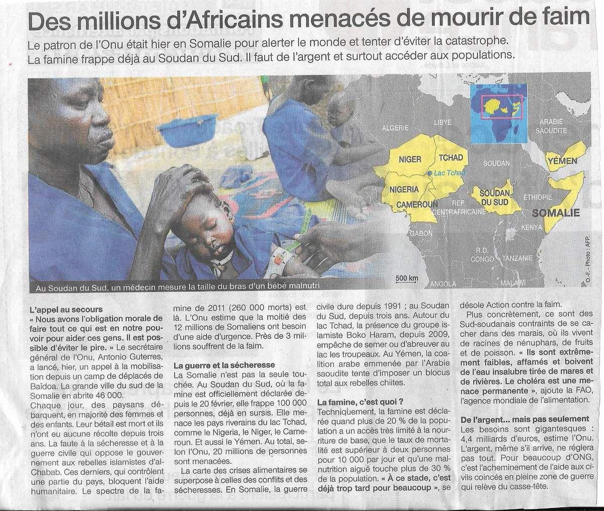 La famine menace 20 millions d'africains (Ouest-France, 8 mars 2017)
