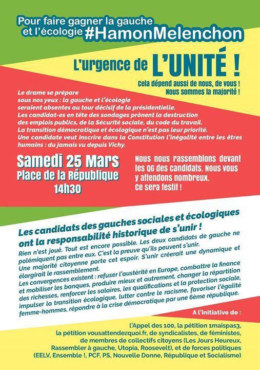 L'urgence de l'Unité: rassemblement à Paris samedi 25 mars place de la République!