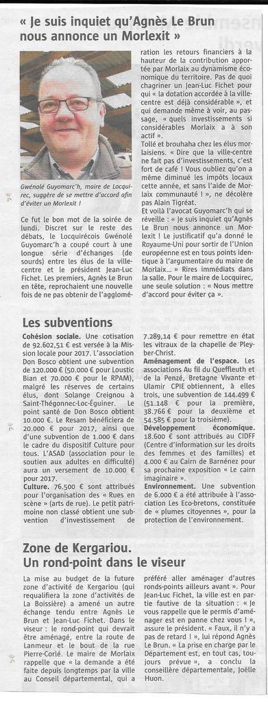 Le Télégramme Morlaix, 29 mars 2017 - Sophie Prévost