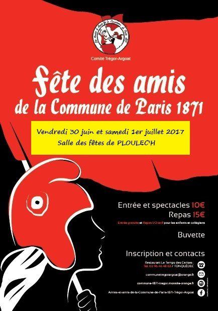 Ploulec'h (Côtes d'Armor, près de Lannion) : Fête des amis de la Commune de Paris de 1871: le 30 juin et le 1er juillet - en l'honneur de Nathalie Le Mel et du féminisme, grande fête culturelle