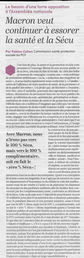 Macron veut continuer à essorer la santé et la Sécu: tribune de Fabien Cohen dans l'Humanité du 19 mai 2017