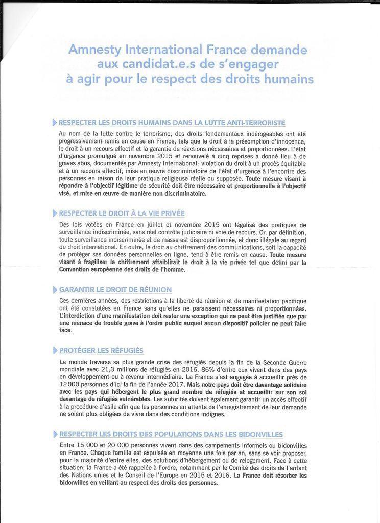 Ismaël Dupont - Un député engagé pour la défense des droits humains, de la fraternité humaine et des libertés démocratiques. Rencontre avec Amnesty International le 7 juin 2017