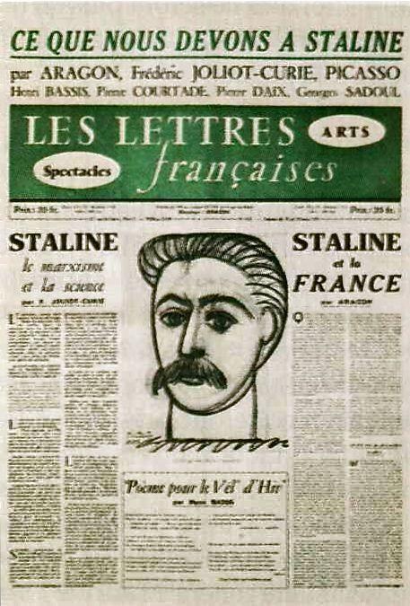 """dessin de Staline par Picasso dans les """"Lettres françaises"""" (février 1953)"""