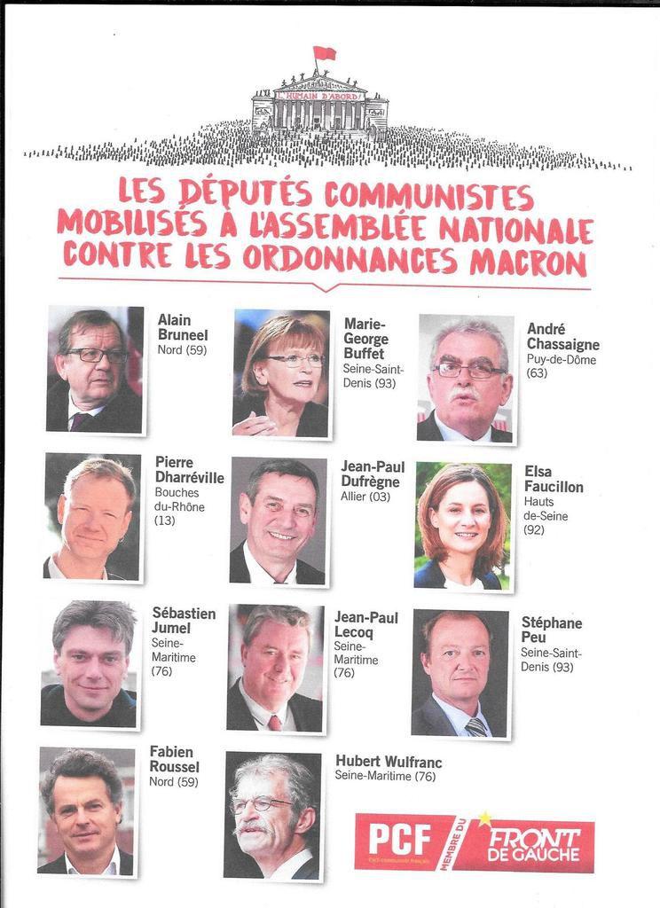 Les députés communistes mobilisés contre les ordonnances Macron pour casser le droit du travail