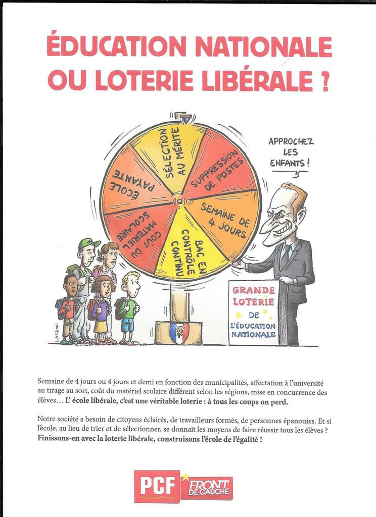 Education nationale ou loterie libérale (PCF)