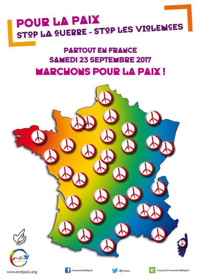 La fédération du Parti Communiste Français du Finistère appelle à se mobiliser pour la paix du 21 au 23 septembre 2017 et à participer aux marches pour la paix de Brest et Quimper le 23 septembre