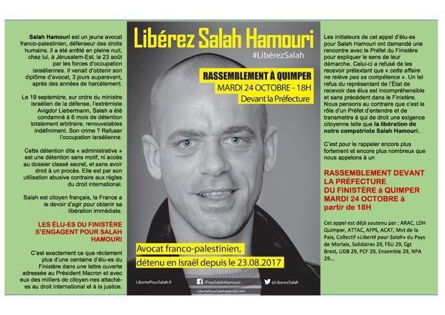 Après le refus du préfet de recevoir une délégation d'élus, rassemblement pour la libération de Salah Hamouri place de la résistance à Quimper mardi 24 octobre à 18h